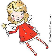 Hand drawn cute little fairy with a magic wand.