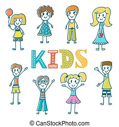 Hand drawn cute little kids. Collection of cartoon happy children. Cute postcard