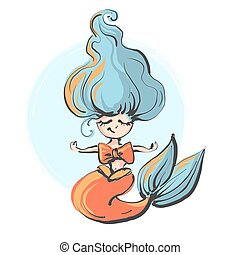 Hand drawn cute little mermaid meditation. Doodle cartoon vector illustration isolated on white background.