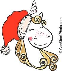 Hand drawn Cute magic Unicorn in Santa hat.