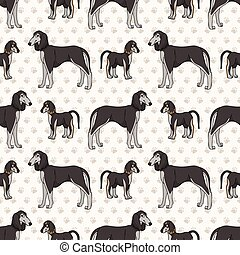 Hand drawn cute puppy and saluki breed dog seamless vector pattern. Purebred pedigree domestic dog on paw background. Dog lover pet parlour pet all over print. Kennel pooch.