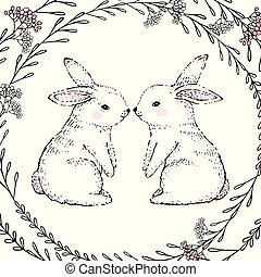 Hand Drawn cute rabbits and floral frame. Vector