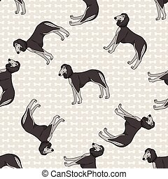 Hand drawn cute saluki breed dog seamless vector pattern. Purebred pedigree domestic dog on paw background. Dog lover pet parlour pet all over print. Kennel pooch.