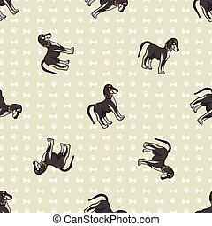 Hand drawn cute saluki puppy breed dog seamless vector pattern. Purebred pedigree domestic dog on paw background. Dog lover pet parlour pet all over print. Kennel pooch.