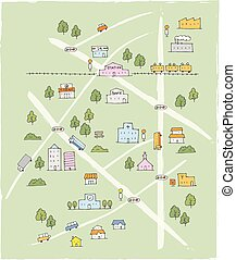 Hand drawn cute sketch map in color