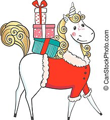 Hand drawn cute unicorn-santa with gifts.