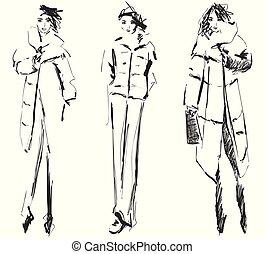 Hand drawn cute winter, fashion sketch, cartoon girl. Vector illustration.