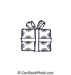 Hand drawn dark blue gift box isolated on white