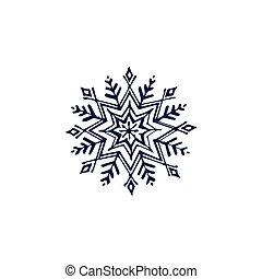 Hand drawn dark blue snowflake isolated on white