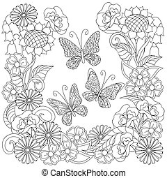 Hand drawn decorated butterflies into circle in ethnic style...