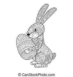 Hand drawn decorated cartoon rabbit with egg. Card for easter day. Zentangle style. Henna Paisley flowers Mehndi. Image for adult or children coloring page, tatoo. Vector illustration - eps 10.