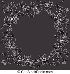 frame with doodle flowers and elements on the black background