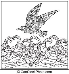 gaviota ander the ocean - Hand drawn decorated gaviota ander...