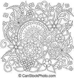 doodle flowers and mandalas - Hand drawn decorated image...