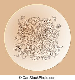 hand drawn decorated saucer