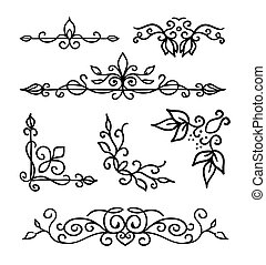 Hand drawn decoration elements, frames, page divider and border vector illustration with all separated elements for your design