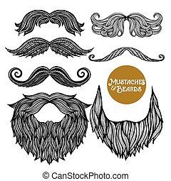 Hand Drawn Decorative Beard And Mustache Set - Hand drawn...
