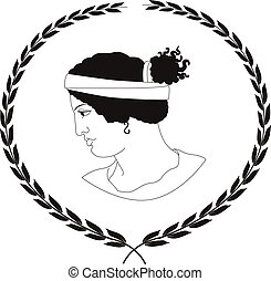Hand drawn decorative logo with head of ancient Greek women.
