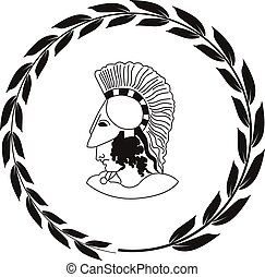 Hand drawn decorative logo with head of the ancient Greek warrior.