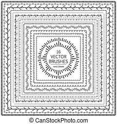 Hand drawn decorative vector brushes .