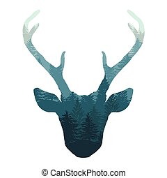 Hand drawn deer head with forest double exposure