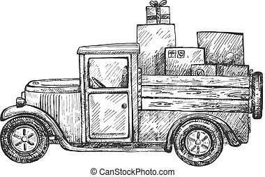 Hand drawn delivery truck with parcels