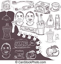 hand drawn dental care set
