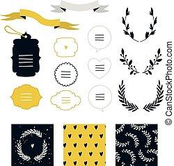 Hand drawn design elements set