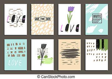 Hand drawn design - Set of 8 trendy invite cards. Hand Drawn...