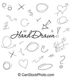A set of hand drawn signs and symbols