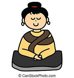 hand-drawn, dessin animé, méditation