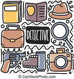 hand drawn detective equipment doodle set