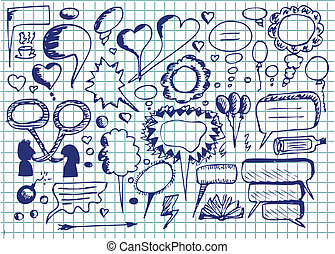 hand drawn dialog icons in blue colors