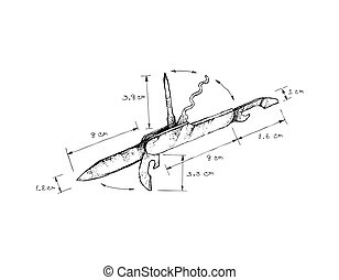 Hand Drawn Dimension of Swiss Army Knife - Illustration Hand...