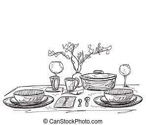 Hand Drawn dinner wares  sc 1 st  Can Stock Photo & Table etiquette hand drawn illustration. Table etiquette hand drawn ...