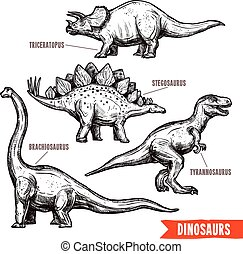Prehistoric dinosaurs 4 diverse jurassic reptiles animals hand drawn pictograms collection black doodle abstract isolated vector illustration