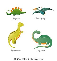 Hand drawn dinosaurs - Vector set of hand drawn dinisaurs...
