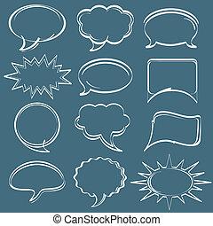 hand-drawn, discorso, bolle