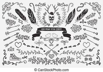 hand-drawn, disegno floreale, elementi