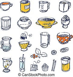 Hand-drawn dishes and tea time elements