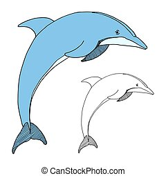 Hand drawn dolphin. Vector illustration in sketch style.