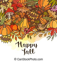 Hand drawn doodle autumn background