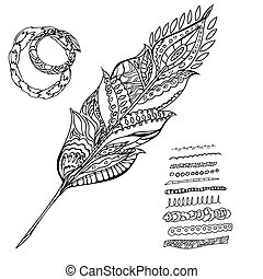 Hand drawn Doodle bird feather vector illustration
