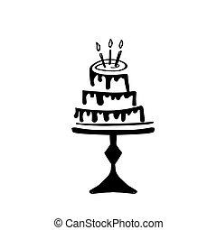 Hand drawn doodle birthday cake with caldles. Vector icon, logo or simbol design