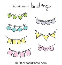 Hand drawn doodle bunting flags set