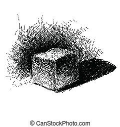 Hand drawn doodle cube. Vector illustration.