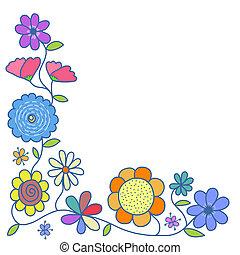 Hand Drawn Doodle Floral Corner Border