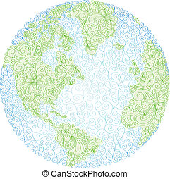 Hand-drawn world globe vector with bird, flower, vine, and peace symbol elements. Colors are grouped for easy editing.