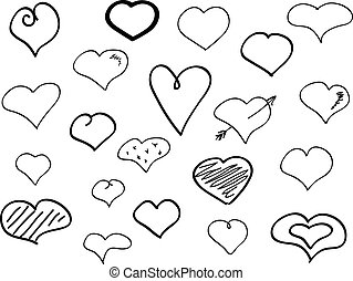 Hand-drawn doodle hearts