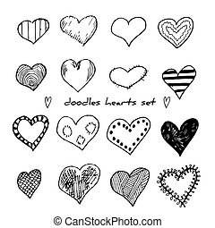 Hand-drawn doodle hearts set isolated on white. Design elements for Valentine day and wedding. Vector illustration for web site, poster, placard, wallpaper